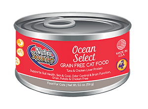 NutriSource Grain Free Ocean Select Canned Cat Food, 5.5-oz