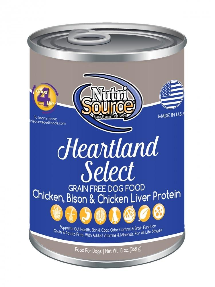 NutriSource Grain Free Heartland Select Formula Canned Dog Food, 13-oz