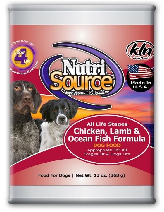 NutriSource Adult Chicken Lamb and OceanFish Canned Dog Food, 13-oz