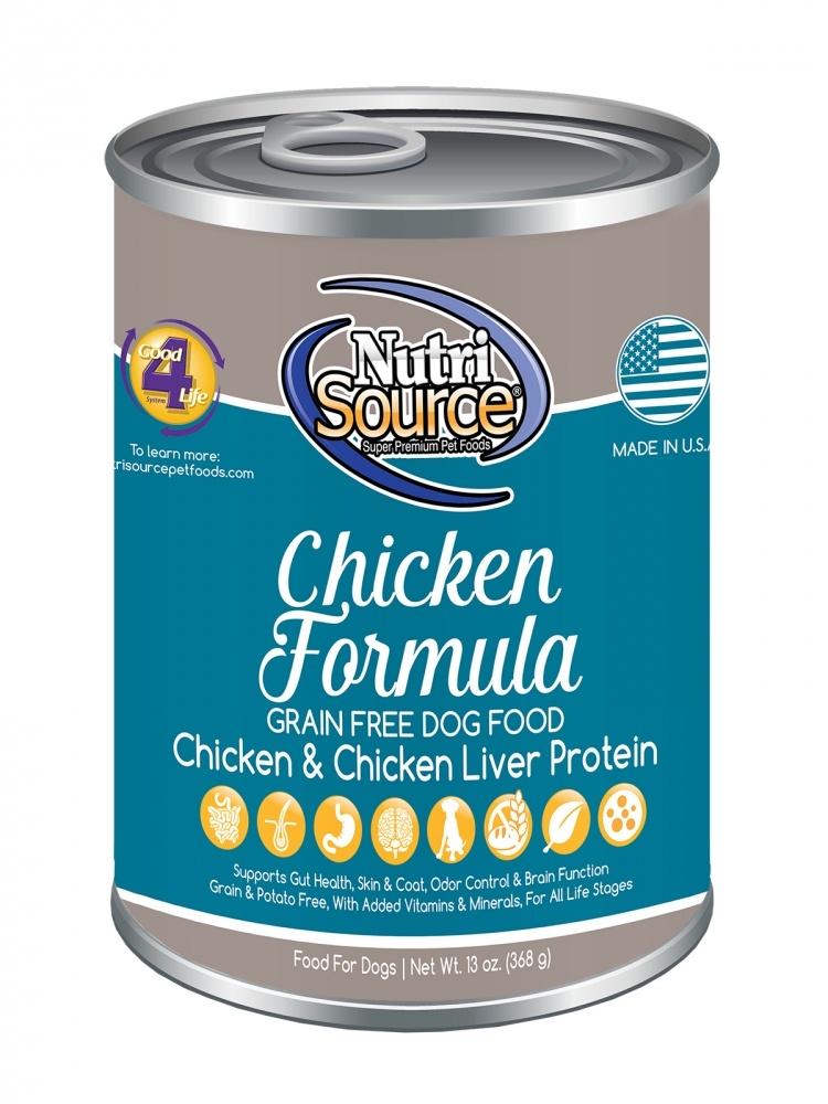 NutriSource Grain Free Chicken Formula Canned Dog Food, 13-oz