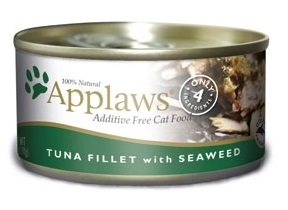 Applaws Additive Free Tuna Fillet with Seaweed Canned Cat Food, 2.47-oz