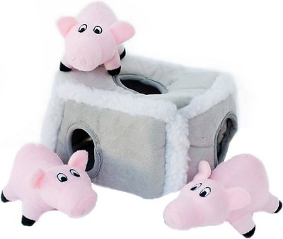 ZippyPaws Burrow Squeaky Hide and Seek Plush Dog Toy, Pig Pen, Puzzle Set