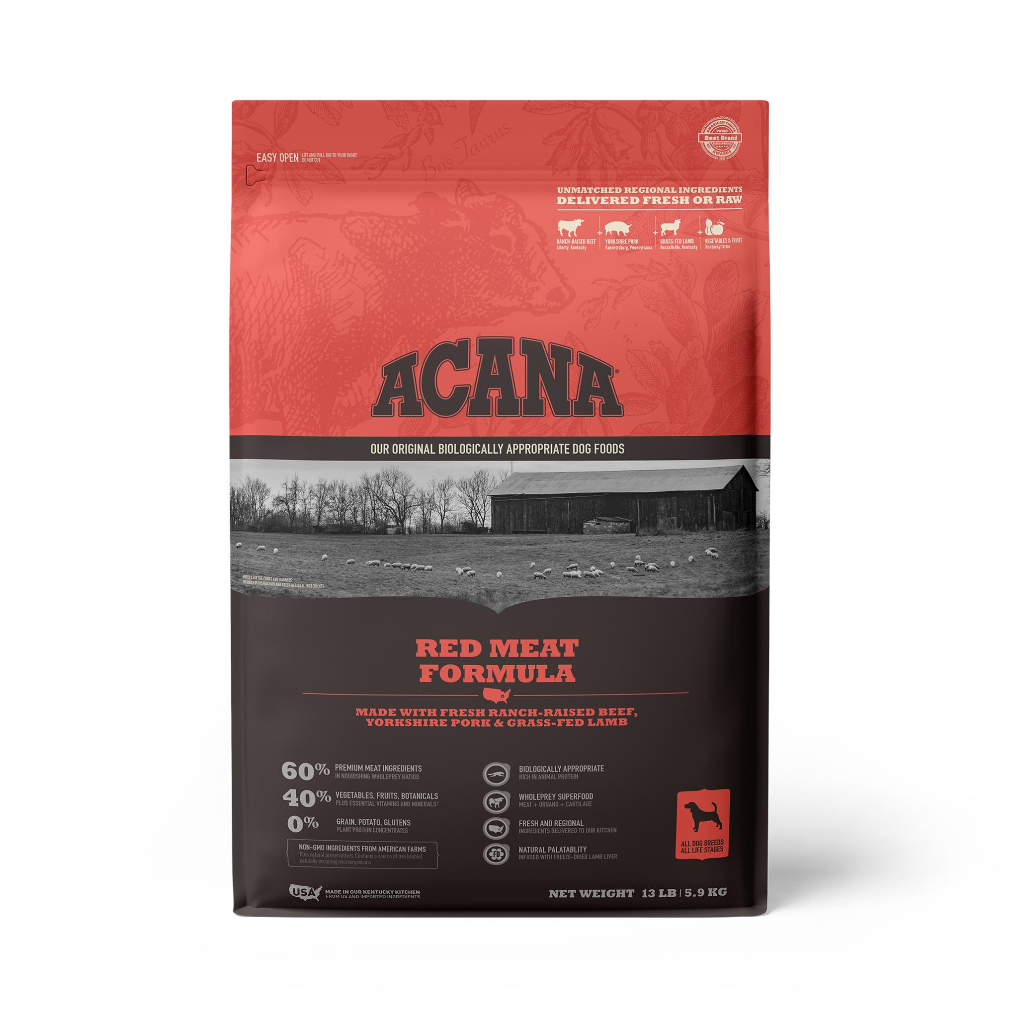 ACANA Red Meat Grain-Free Dry Dog Food, 13-lb