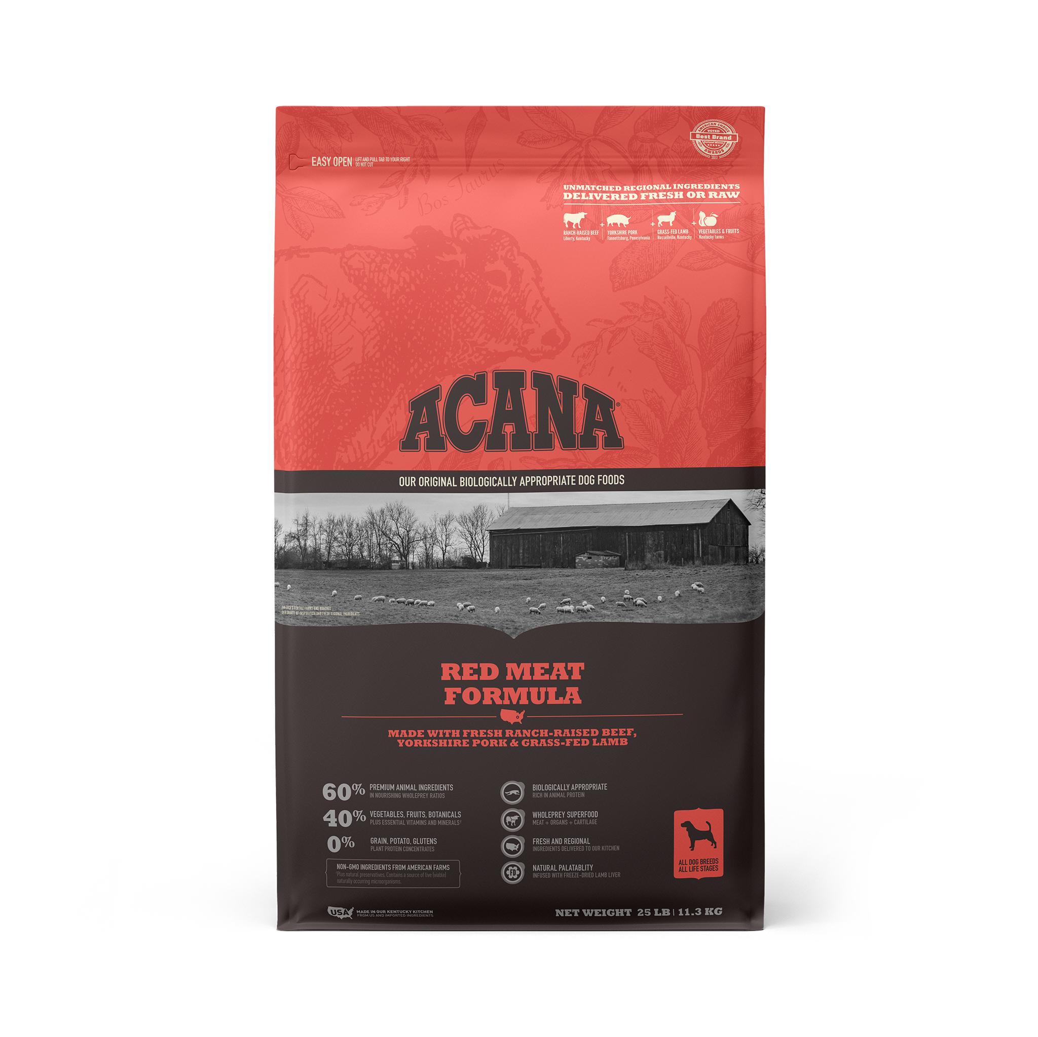 ACANA Red Meat Grain-Free Dry Dog Food, 25-lb Size: 25-lb