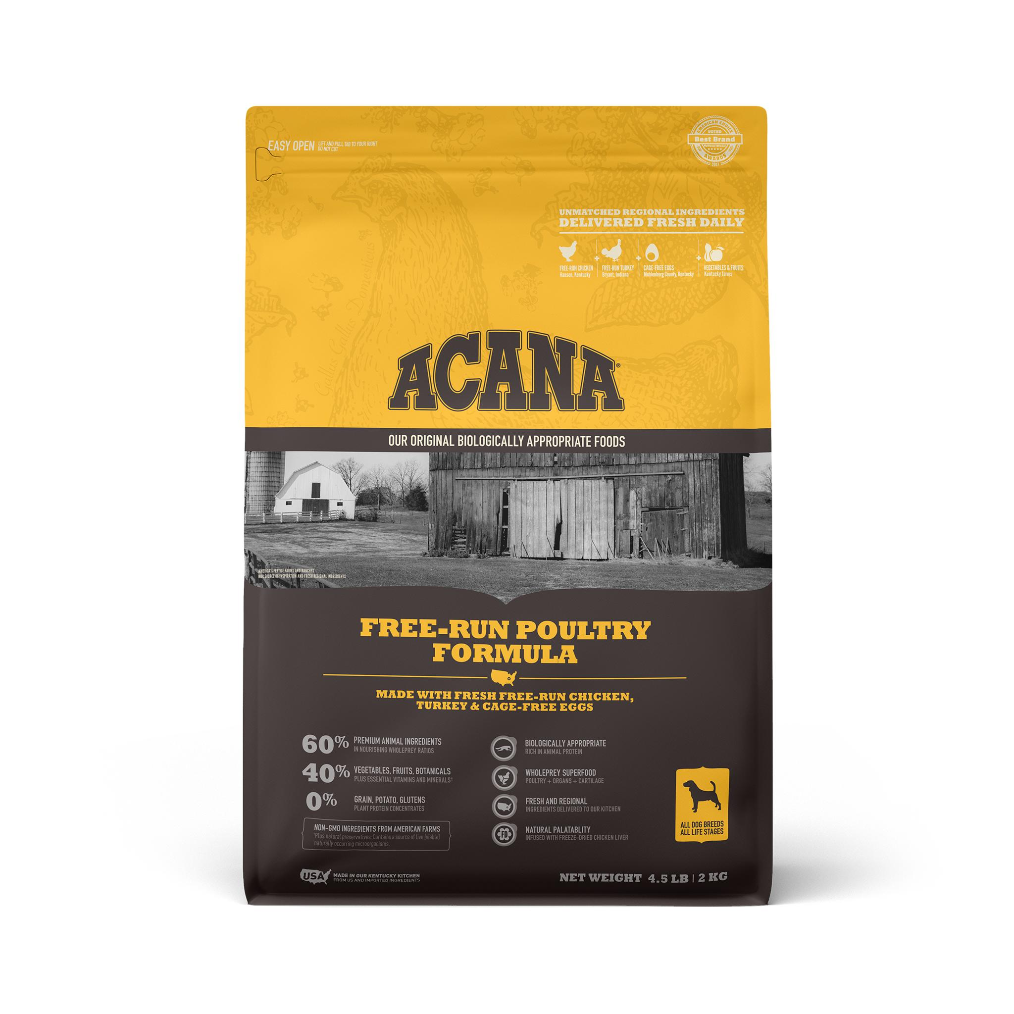 ACANA Free-Run Poultry Grain-Free Dry Dog Food, 4.5-lb