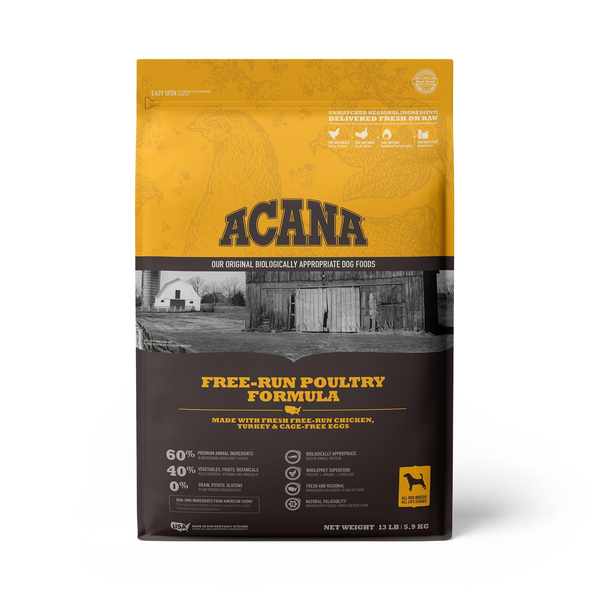 ACANA Free-Run Poultry Grain-Free Dry Dog Food, 13-lb