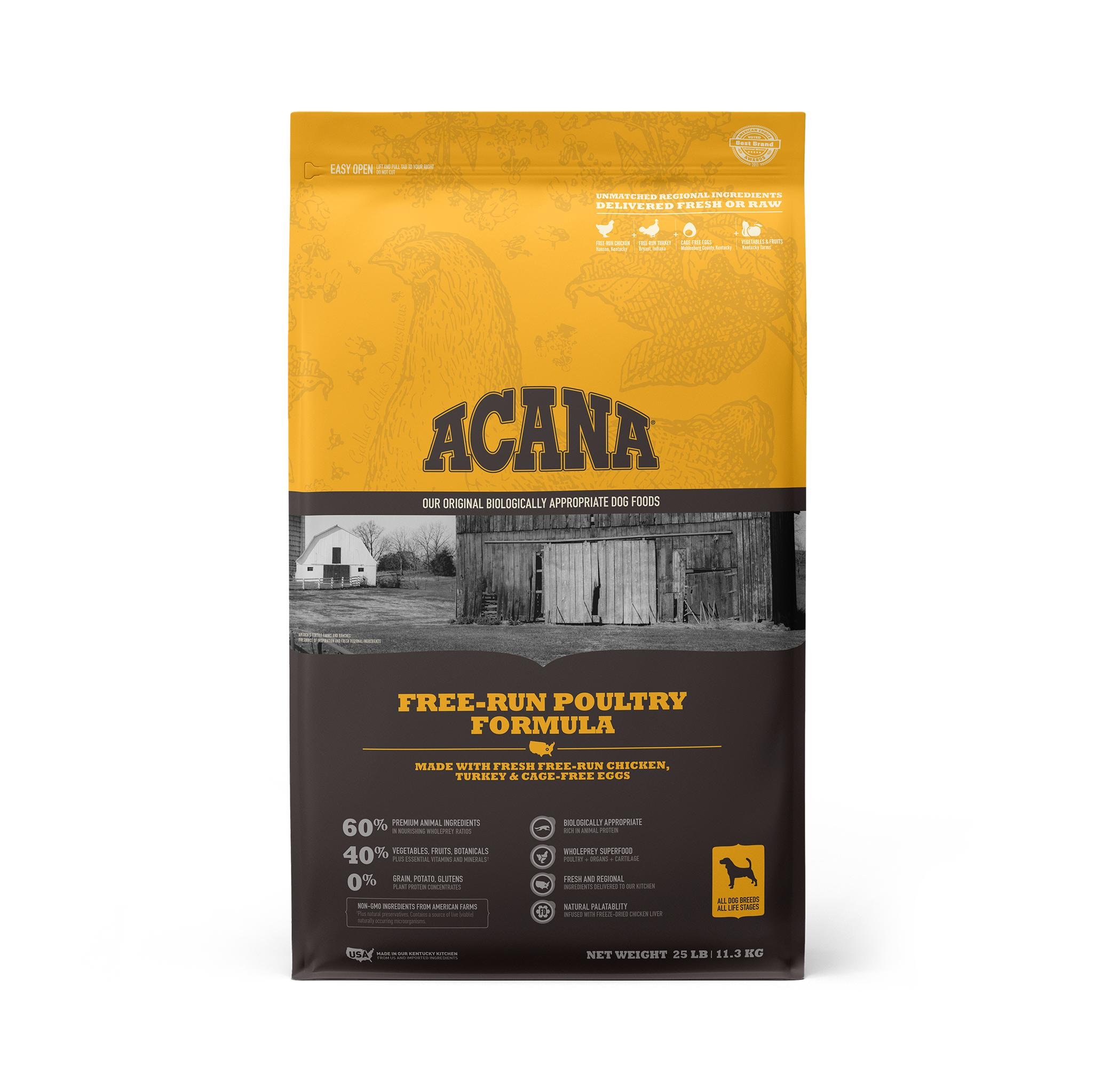 ACANA Free-Run Poultry Grain-Free Dry Dog Food, 25-lb
