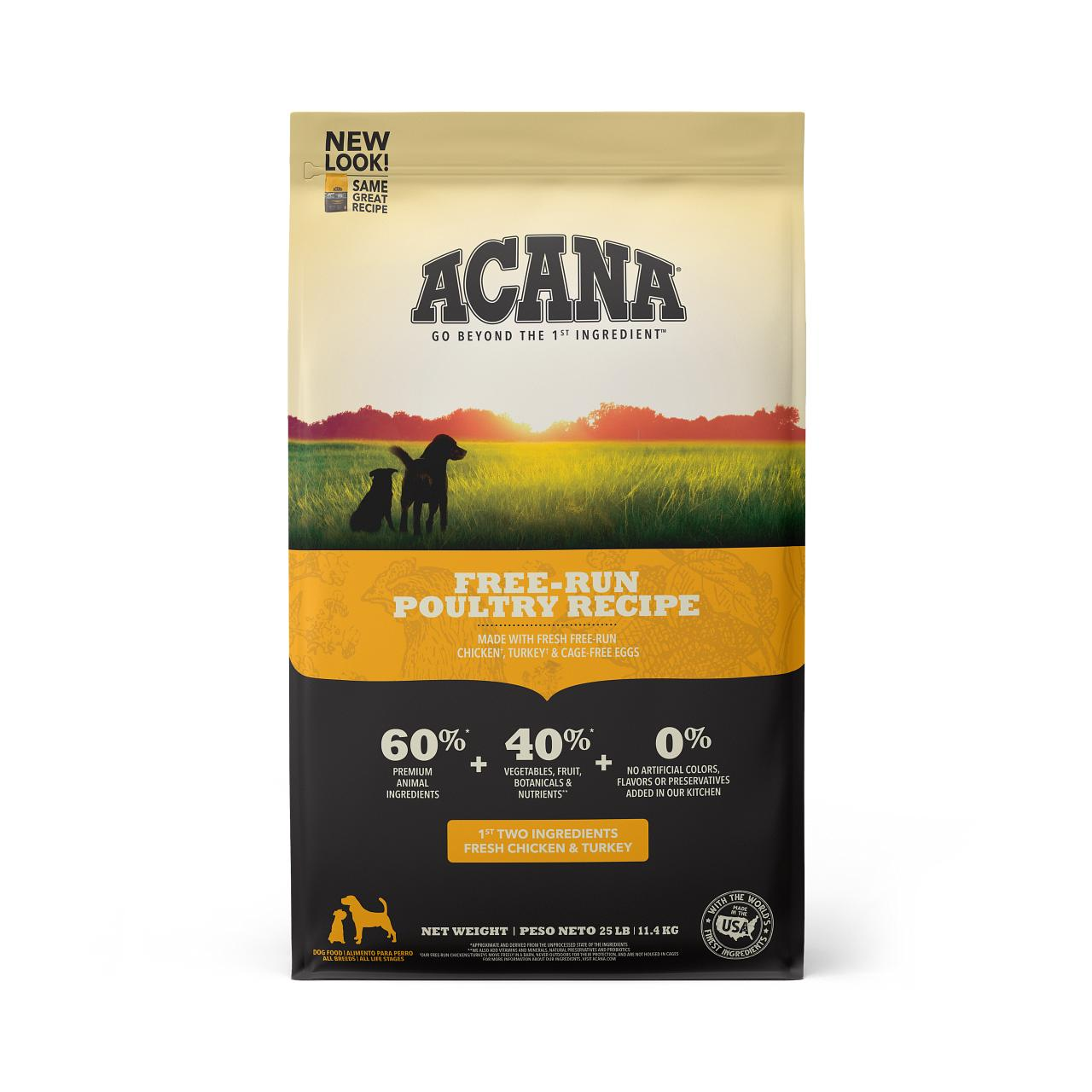 ACANA Free-Run Poultry Grain-Free Dry Dog Food, 25-lb
