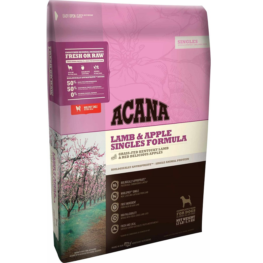 ACANA Singles Limited Ingredient Diet Lamb & Apple Formula Dry Dog Food, 13-lb