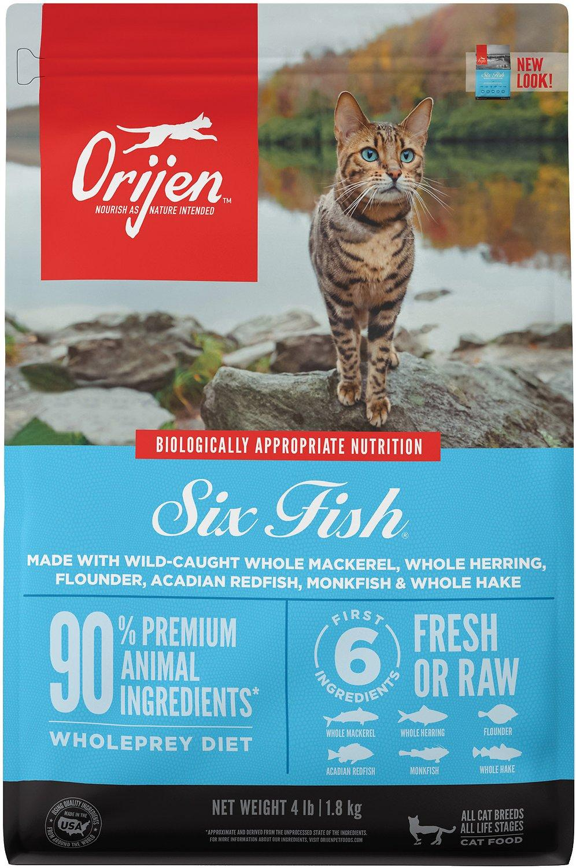 ORIJEN Six Fish Grain-Free Dry Cat Food, 4-lb
