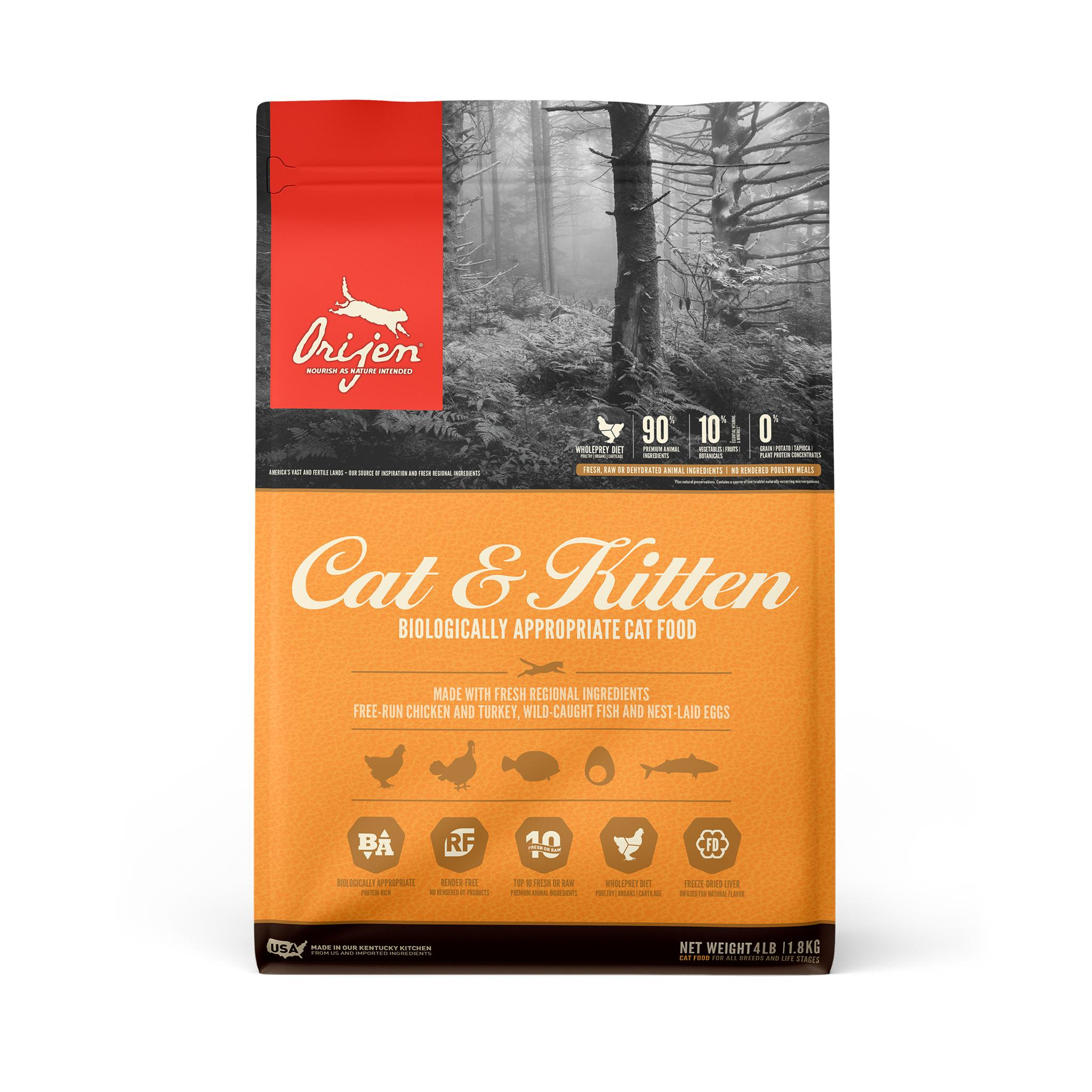 ORIJEN Cat & Kitten Dry Cat Food, 4-lb