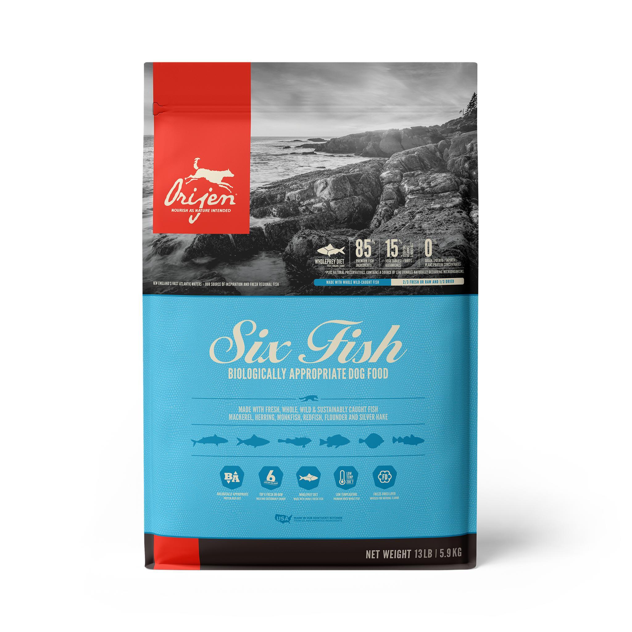 ORIJEN Six Fish Grain-Free Dry Dog Food, 13-lb