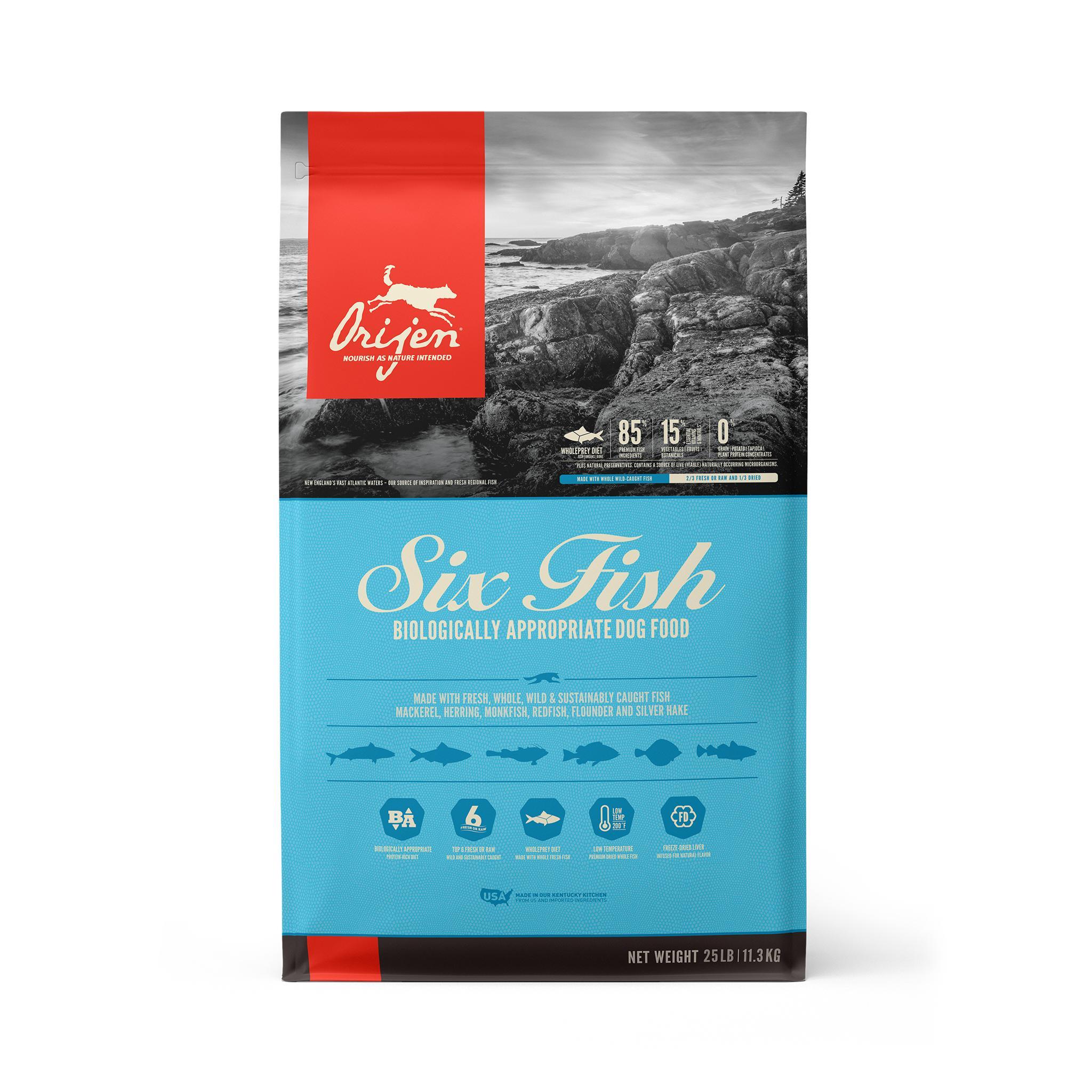 ORIJEN Six Fish Grain-Free Dry Dog Food, 25-lb