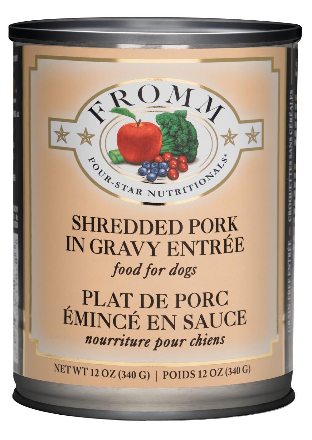 Fromm Four Star Grain Free Shredded Pork in Gravy Entree Canned Dog Food, 12-oz