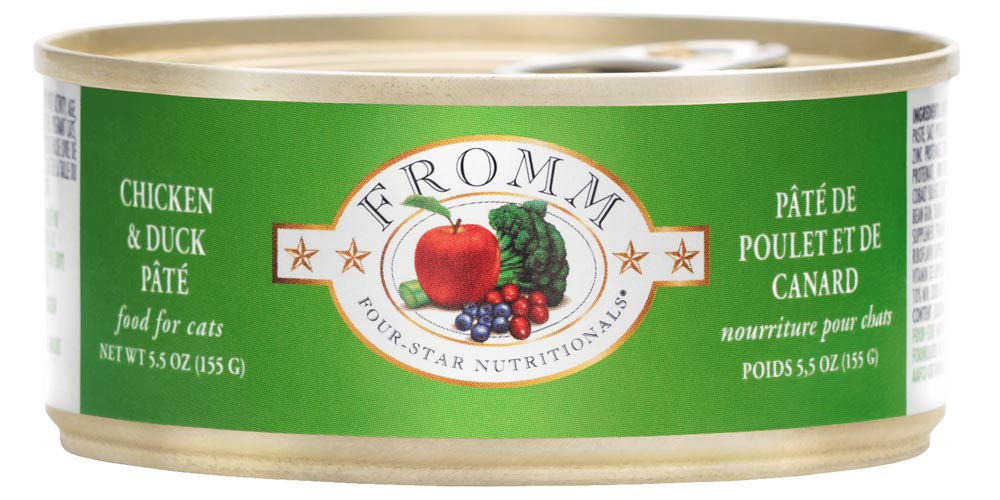 Fromm Four Star Grain Free Chicken and Duck Pate Canned Cat Food, 5.5-oz