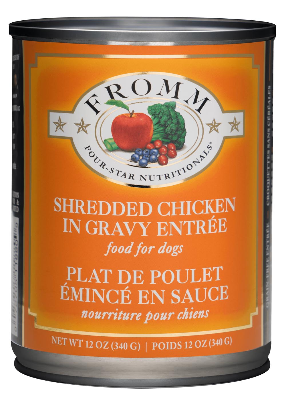 Fromm Four Star Shredded Grain Free Chicken in Gravy Entree Canned Dog Food, 12-oz