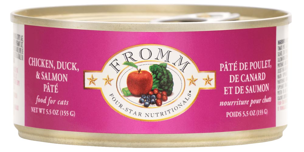 Fromm Four Star Chicken, Duck, and Salmon Pate Canned Cat Food, 5.5-oz, case of 12