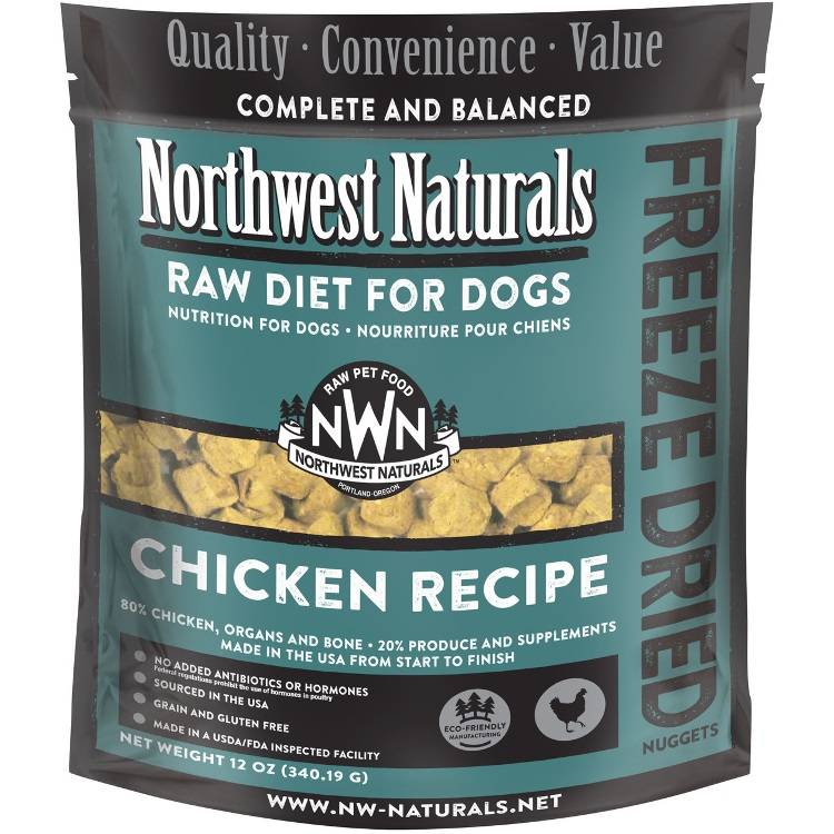 Northwest Naturals Raw Diet Grain-Free Chicken Nuggets Freeze Dried Dog Food, 12-oz