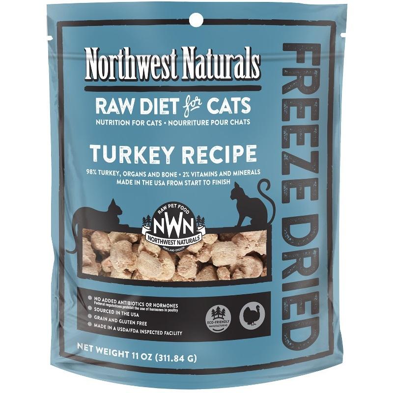 Northwest Naturals Raw Diet Grain-Free Turkey Nibbles Freeze Dried Cat Food, 11-oz