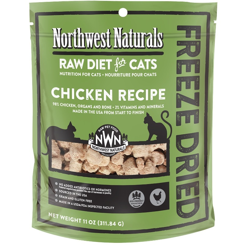 Northwest Naturals Raw Diet Grain-Free Chicken Nibbles Freeze Dried Cat Food, 11-oz