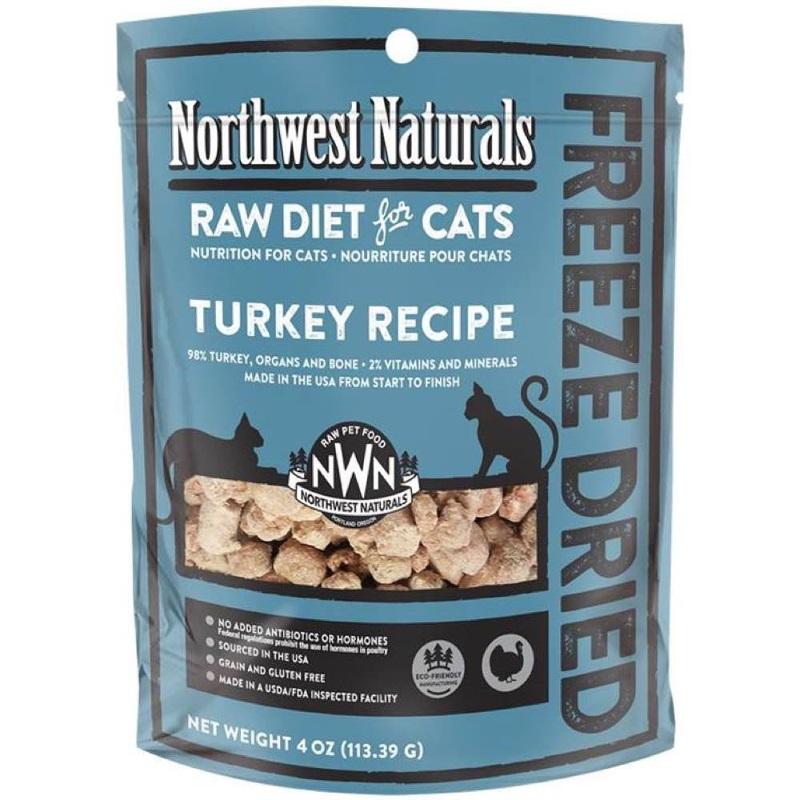 Northwest Naturals Raw Diet Grain-Free Turkey Nibbles Freeze Dried Cat Food, 4-oz