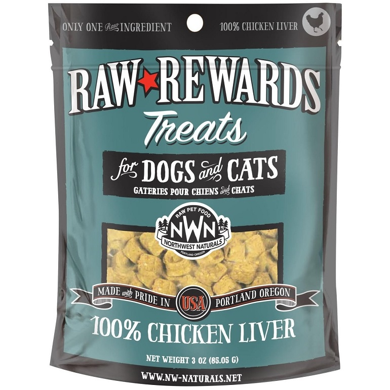 Northwest Naturals Raw Rewards Chicken Liver Freeze Dried Dog & Cats Treats, 3-oz