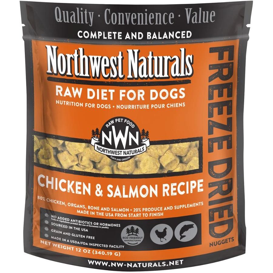 Northwest Naturals Raw Diet Grain-Free Chicken & Salmon Nuggets Freeze Dried Dog Food, 12-oz