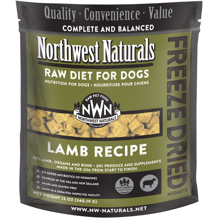Northwest Naturals Raw Diet Grain-Free Lamb Nuggets Freeze Dried Dog Food, 12-oz