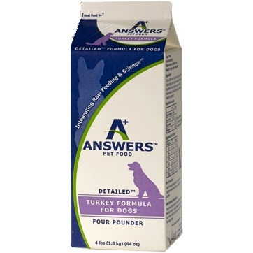 Answers Detailed Turkey Formula Raw Frozen Dog Food, 4-lbs.