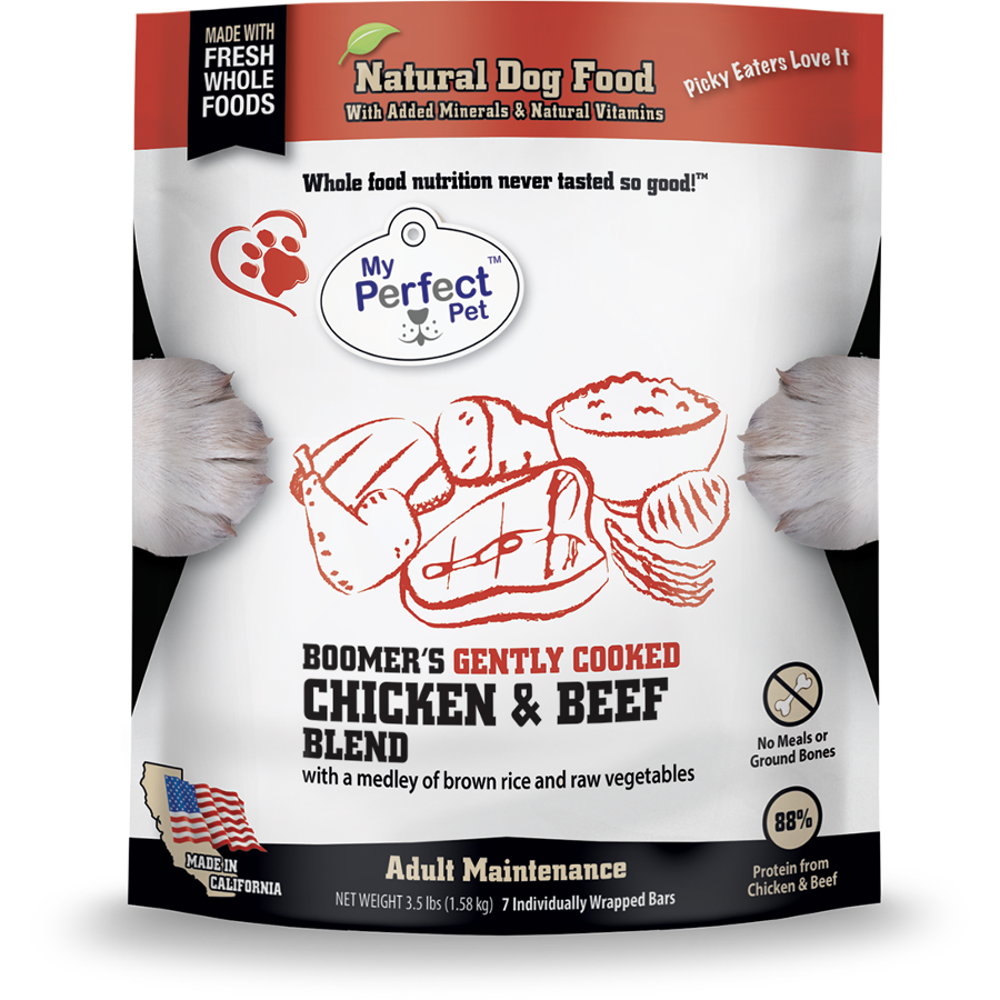 My Perfect Pet Boomer's Chicken & Beef Blend Frozen Dog Food, 3.5-lb