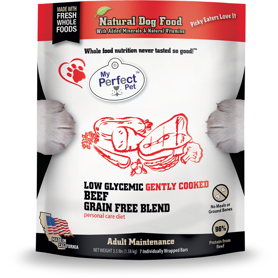 My Perfect Pet Low Glycemic Beef Blend Grain-Free Frozen Dog Food, 3.5-lb