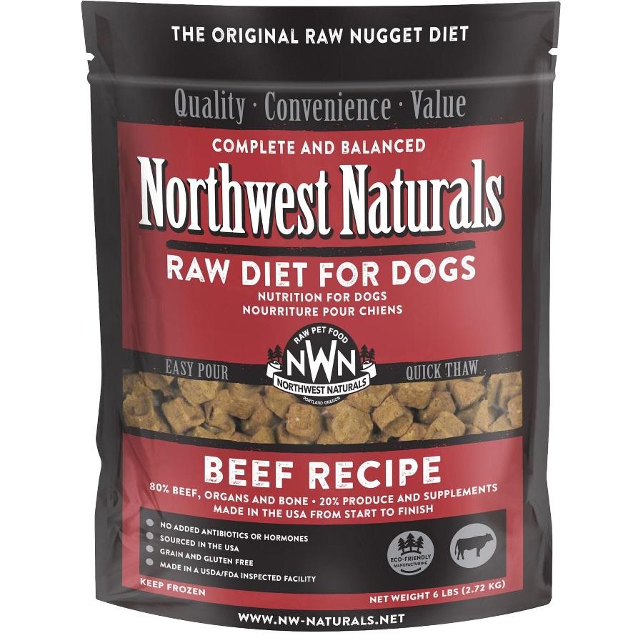 Northwest Naturals Raw Diet Grain-Free Beef Nuggets Raw Frozen Dog Food, 6-lb