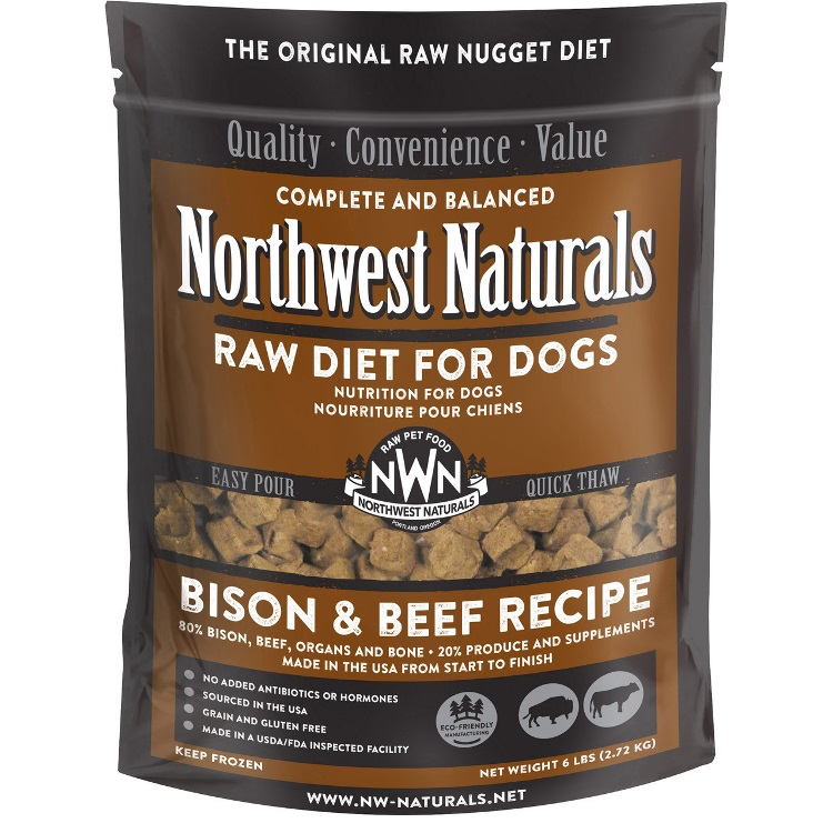 Northwest Naturals Raw Diet Grain-Free Bison & Beef Nuggets Raw Frozen Dog Food, 6-lb