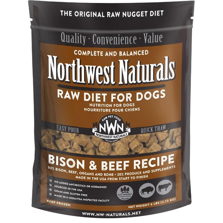 Northwest Naturals Raw Diet Grain-Free Bison & Beef Nuggets Raw Frozen Dog Food, 6-lb Size: 6lbs