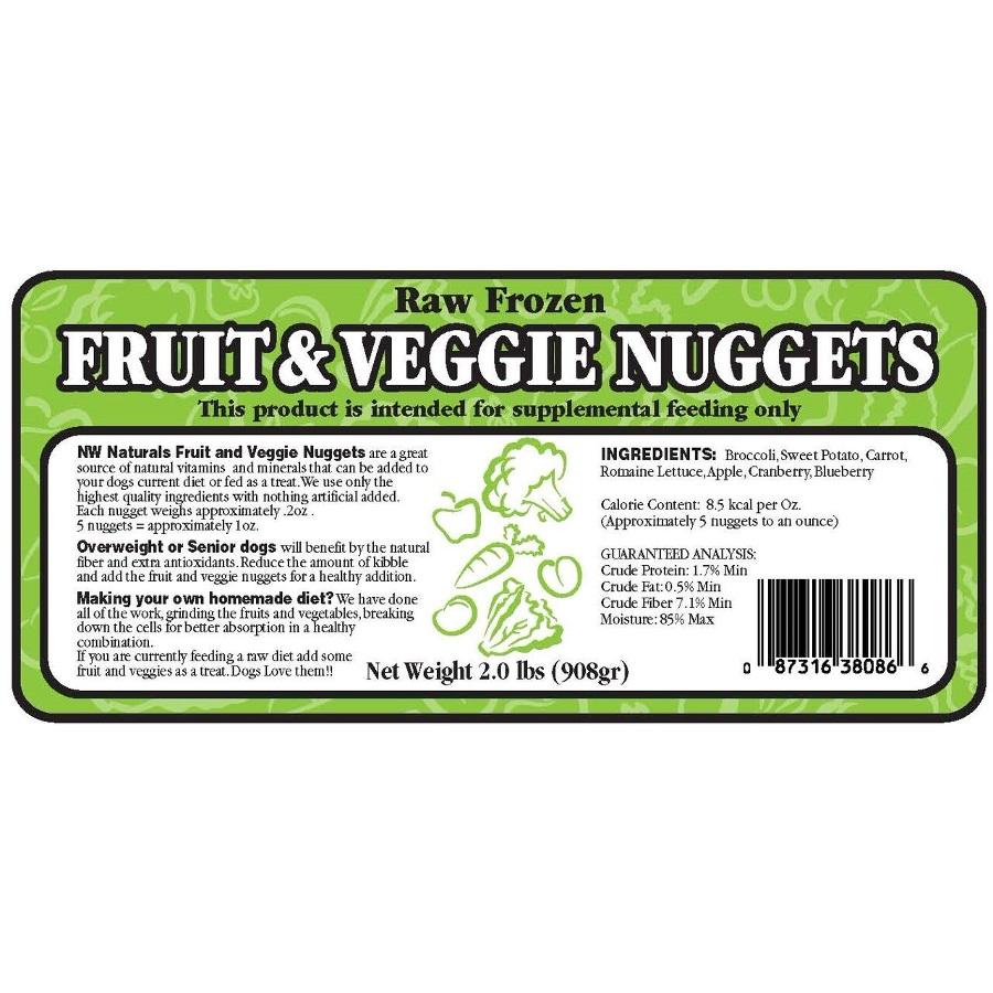 Northwest Naturals Raw Diet Grain-Free Fruit & Veggie Nuggets Raw Frozen Dog Food, 2-lb