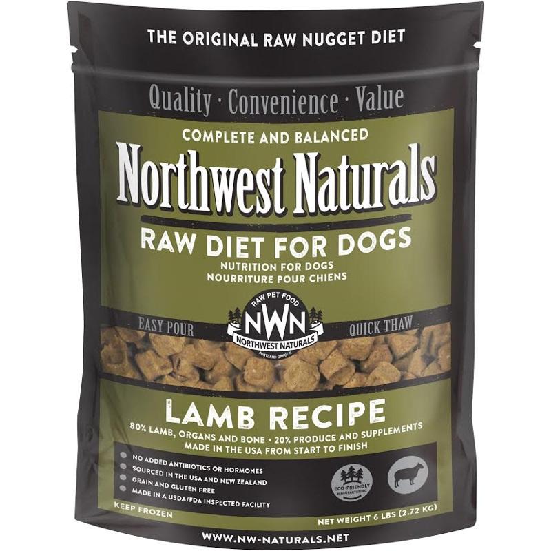 Northwest Naturals Raw Diet Grain-Free Lamb Nuggets Raw Frozen Dog Food, 6-lb