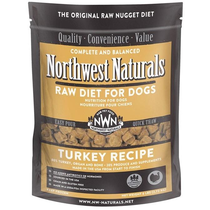 Northwest Naturals Raw Diet Grain-Free Turkey Nuggets Raw Frozen Dog Food, 6-lb