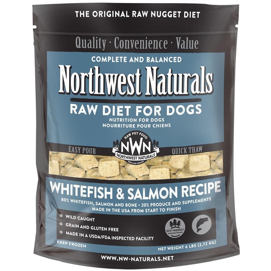 Northwest Naturals Raw Diet Grain-Free Whitefish & Salmon Nuggets Raw Frozen Dog Food, 6-lb