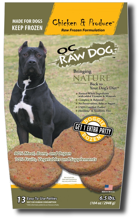OC Raw Dog Chicken & Produce Patties Raw Frozen Dog Food, 6.5lbs