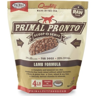Primal Pronto Raw Lamb Formula Raw Frozen Dog Food, 4lbs