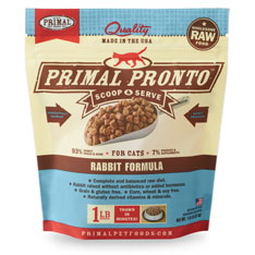 Primal Pronto Raw Rabbit Formula Raw Frozen Cat Food, 1lbs