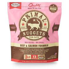 Primal Raw 1-oz Nuggets Beef & Salmon Formula Raw Frozen Cat Food, 3-lbs