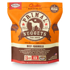 Primal Raw 1-oz Nuggets Beef Formula Raw Frozen Dog Food, 3-lbs