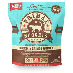 Primal Raw Frozen Nuggets Chicken & Salmon Formula Cat Food, 3-lb
