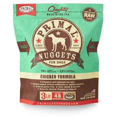 Primal Raw Nuggets Chicken Formula Raw Frozen Dog Food, 3-lb