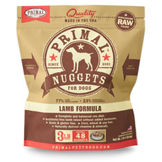 Primal Raw Nuggets Lamb Formula Raw Frozen Dog Food, 3-lb