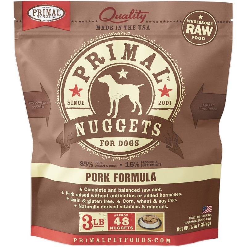Primal Raw Nuggets Pork Formula Raw Frozen Dog Food, 3-lb