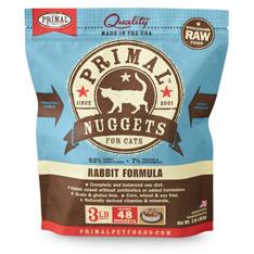 Primal Raw Frozen Nuggets Rabbit Formula Raw Cat Food, 3-lb