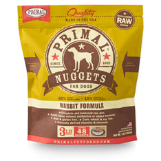 Primal Raw Nuggets Rabbit Formula Raw Frozen Dog Food, 3-lb