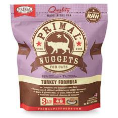 Primal Raw Frozen Nuggets Turkey Formula Cat Food, 3-lb